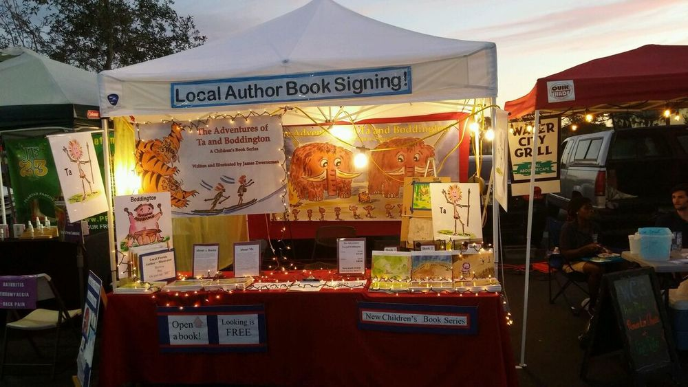 Author sets up The Adventures of Ta and Boddington florida market booth with Christmas lights.jpg