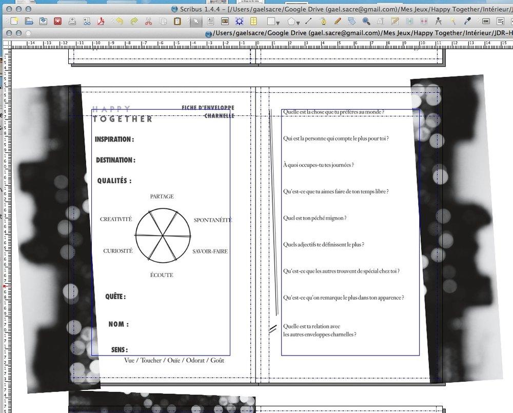 Un aperçu de la feuille de personnage sur le logiciel Scribus.