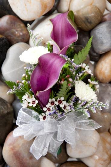 Purple calla corsage