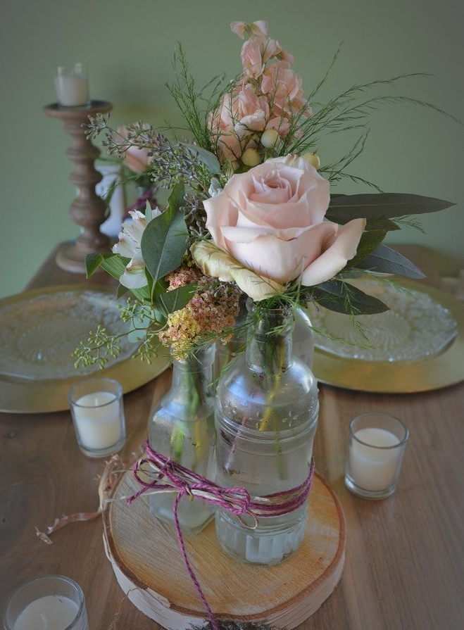 3 vase cluster on birch stand / $35