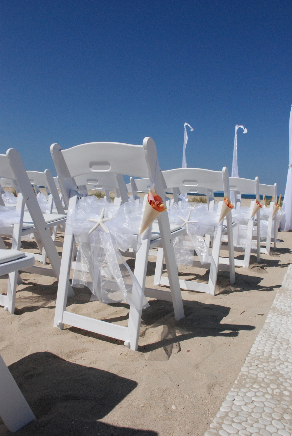 White Gladiator Chair, White sash,