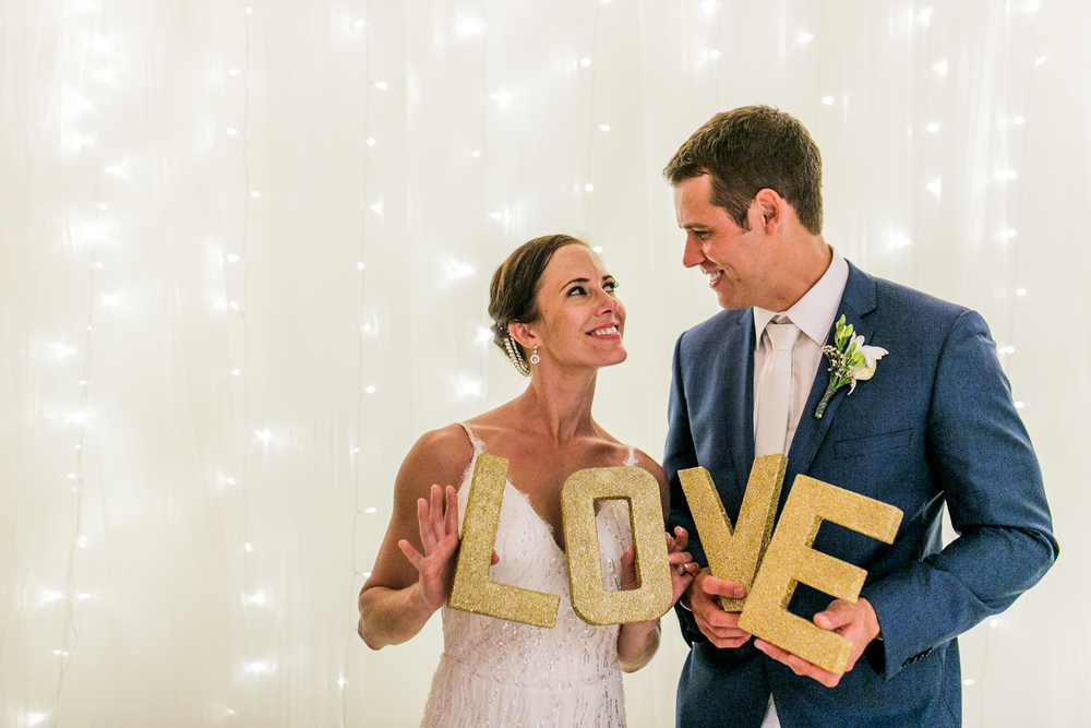 Tulle & Fairy Light Backdrop & Gold LOVE Letters