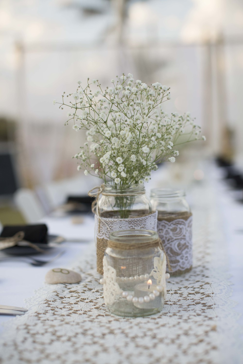 Vintage Jars & Lace & Hessian Table Runners