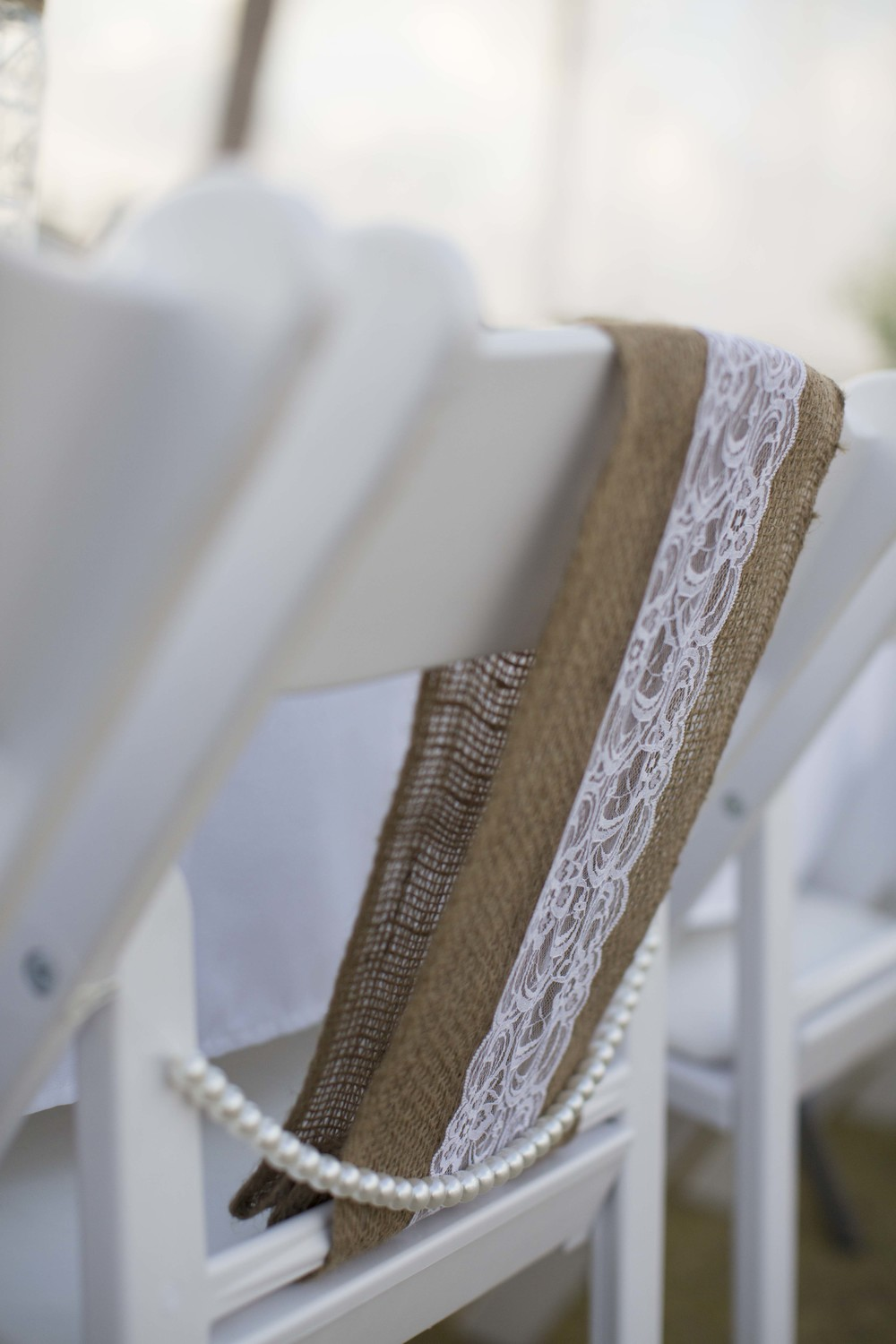 Hessian & Lace Chair Sash With Pearl Drape