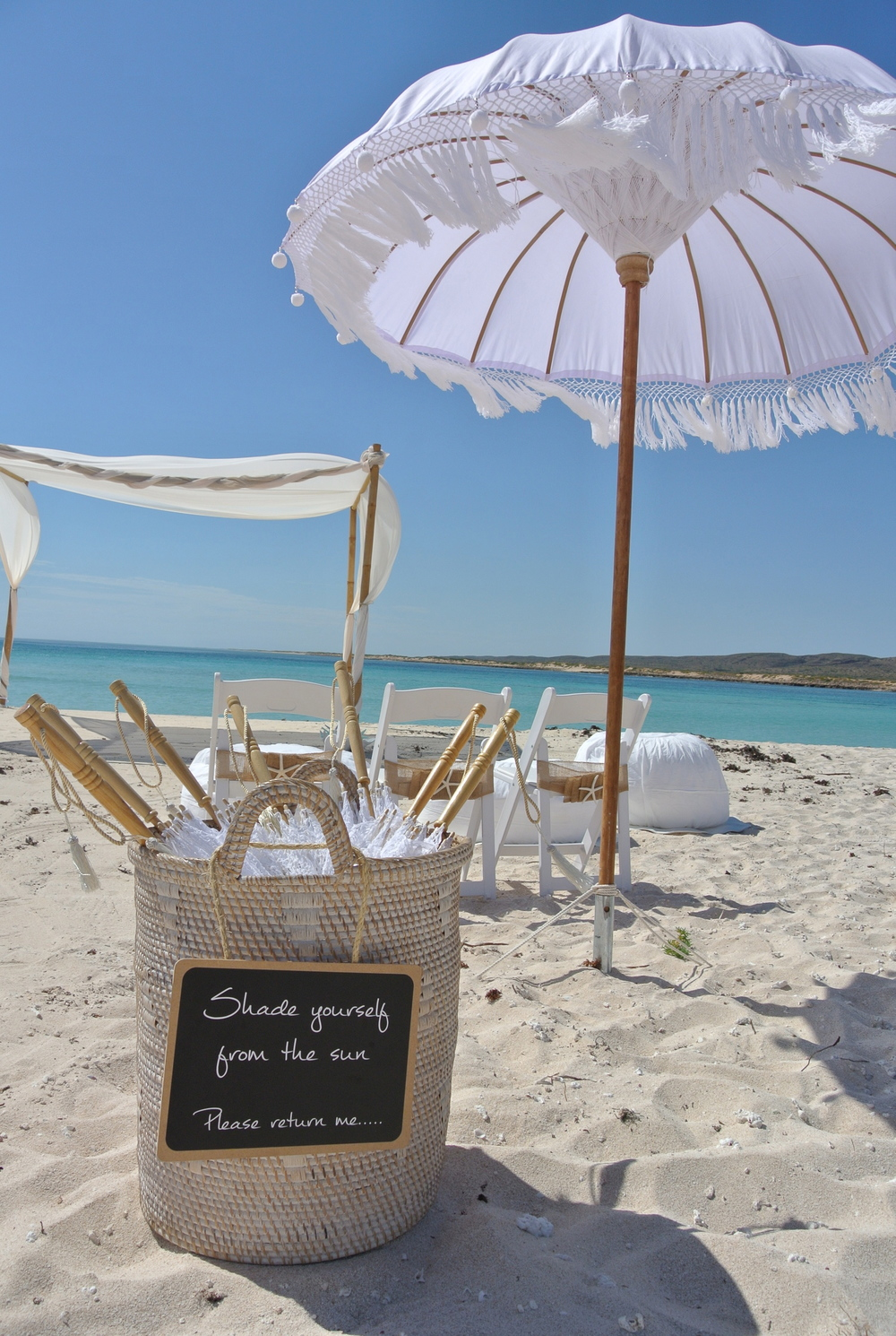 Bohemain Umbrellas, Lace Parasols & White Washed Basket