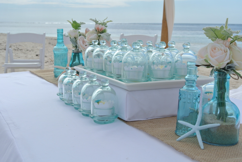 Cupcake Cloches & Blue Vases Artifical Arrangements