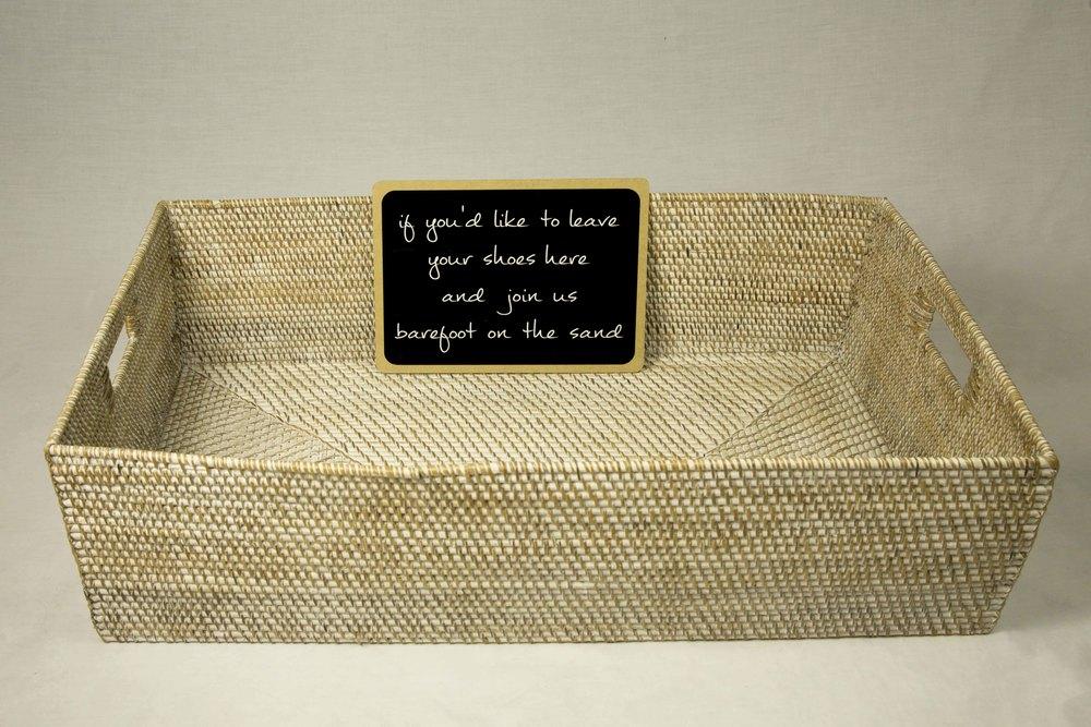 Rectangle White Washed Basket