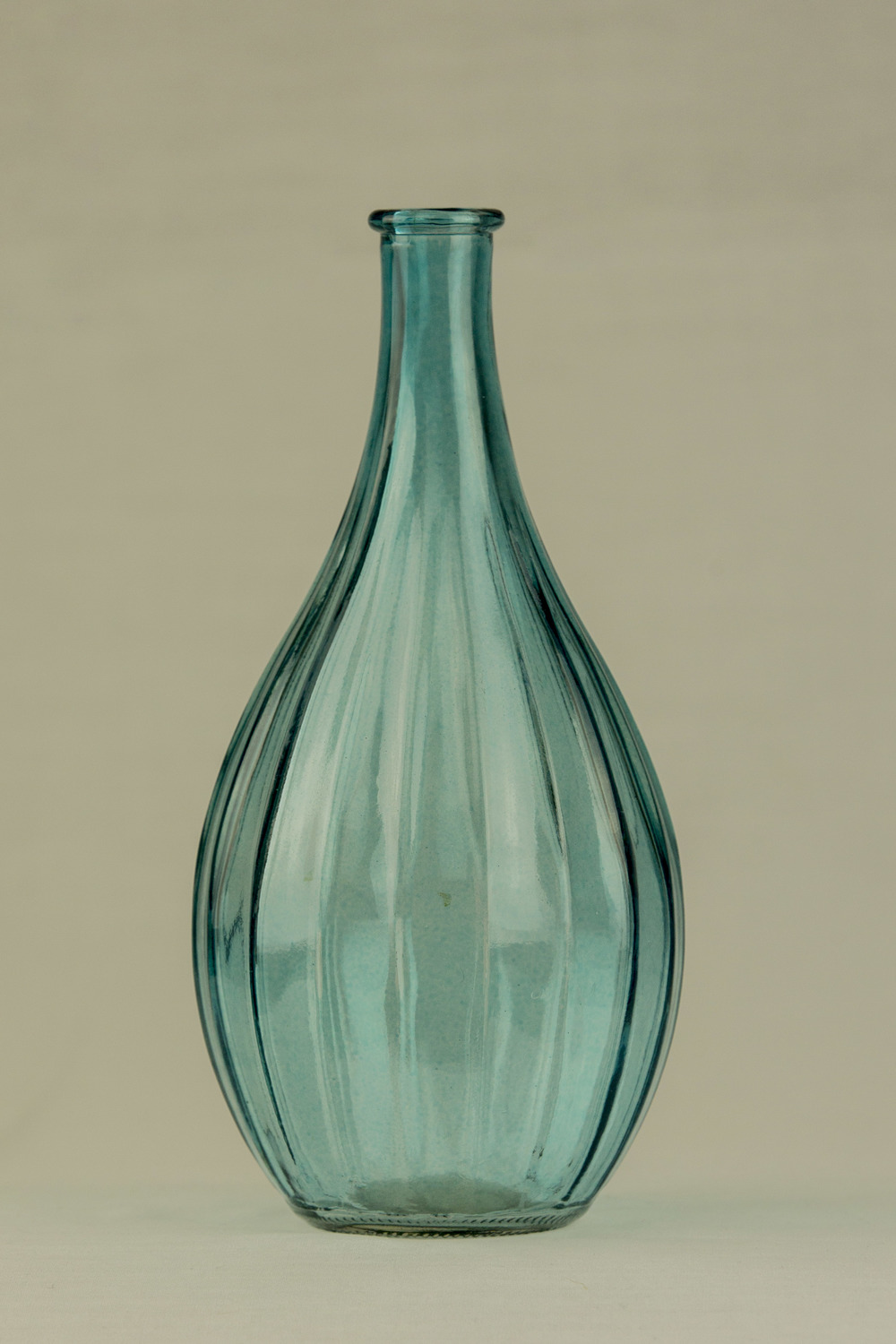 Bulb Glass Ribbed Blue