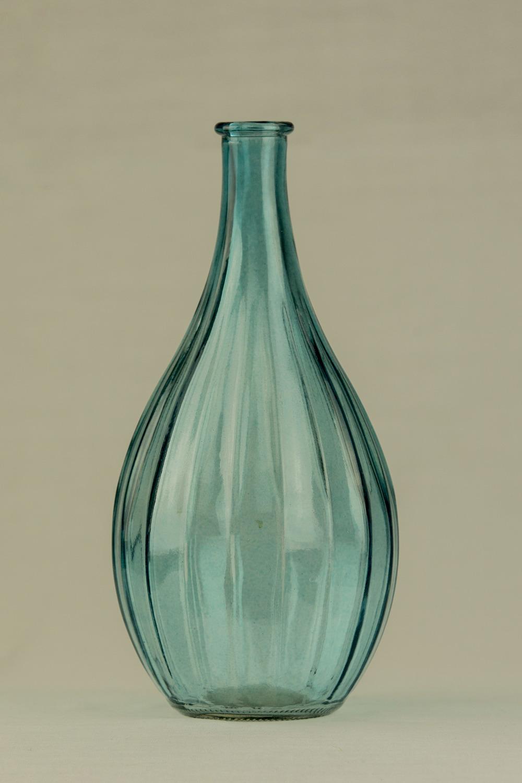Bulb Glass Ribbed Blue