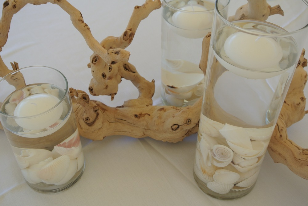 Driftwood & Cyclinder, Shells & Floating Candles