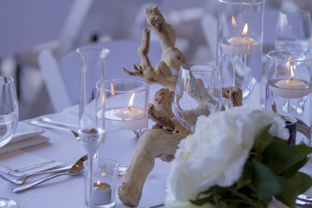 Driftwood Centre Pieces, Artificial Floral Arrangement, Mercury Vases