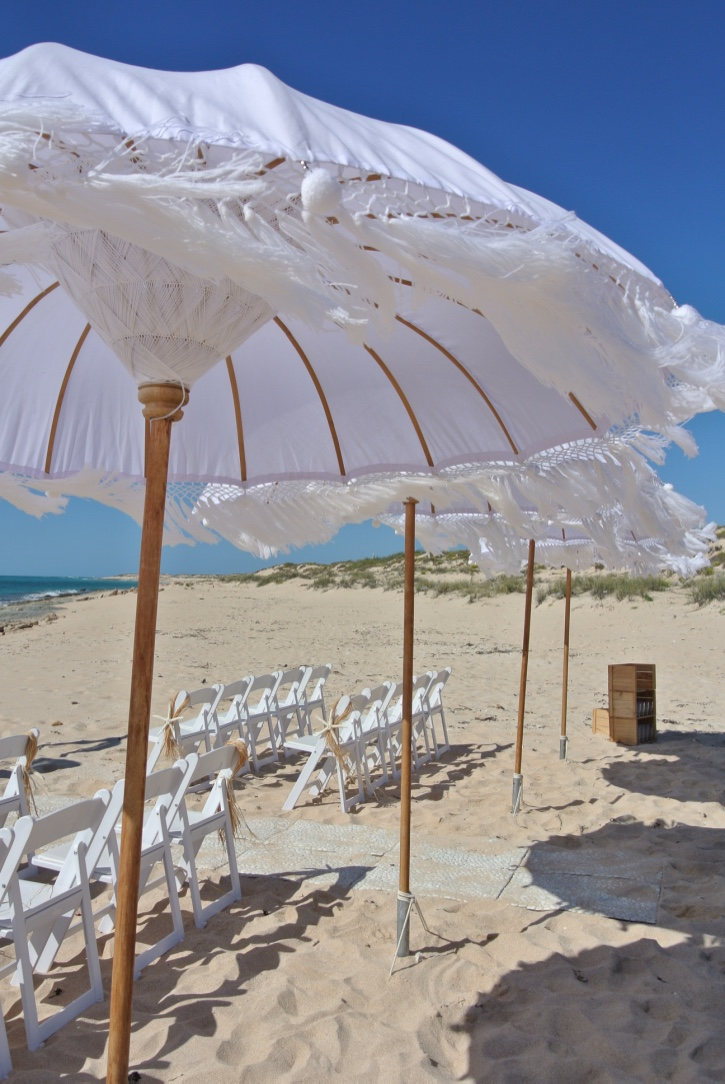 Bohemein Umbrellas, Gladiator Chairs, Pebble matting