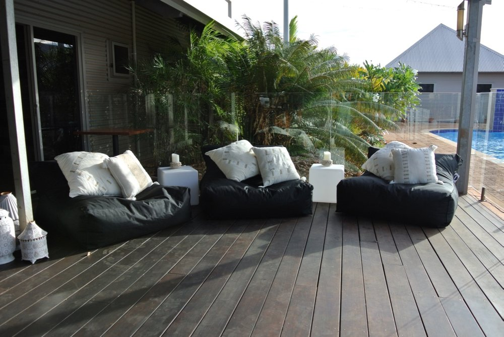 Chill out Area, Black BeanBags & Cushions