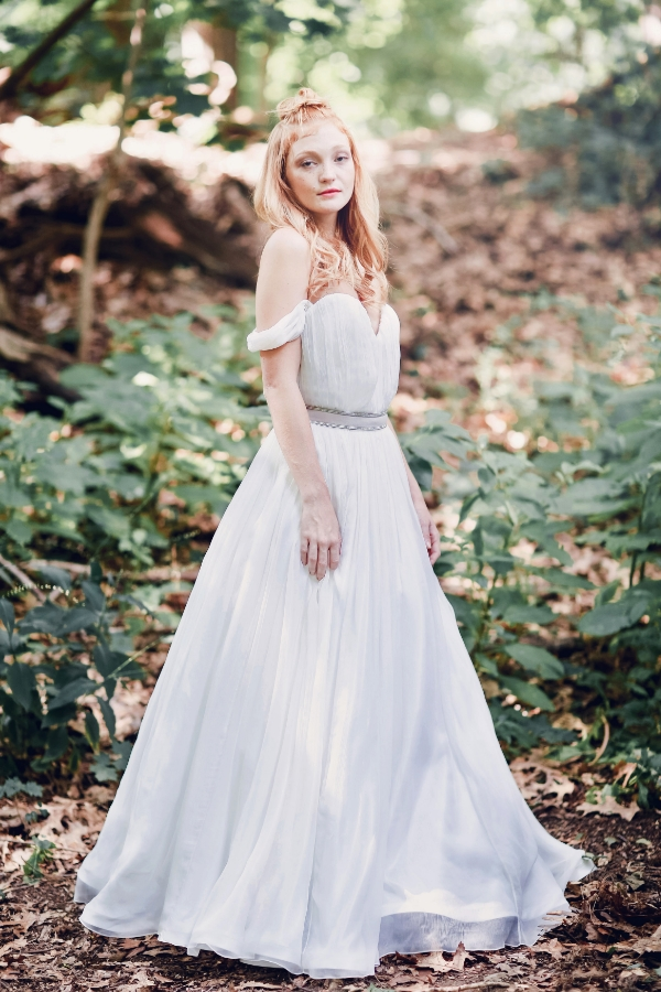 Giselle gown with blush velvet belt