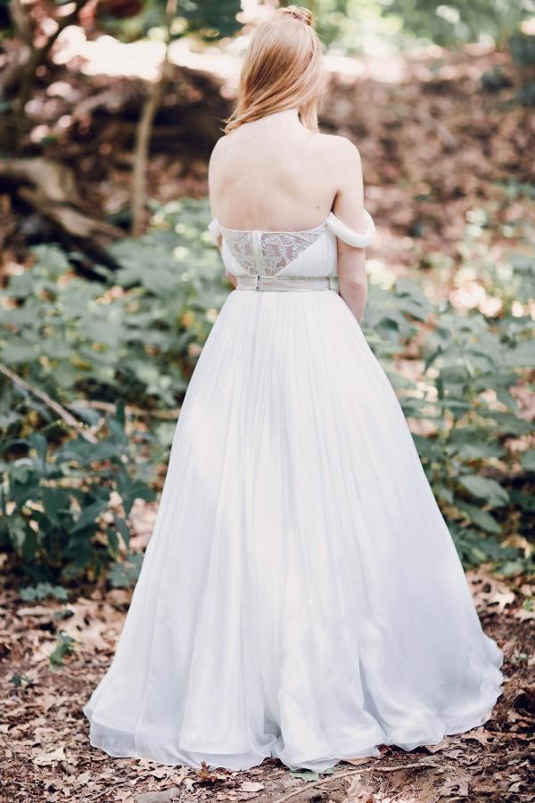 Giselle gown with blush velvet belt
