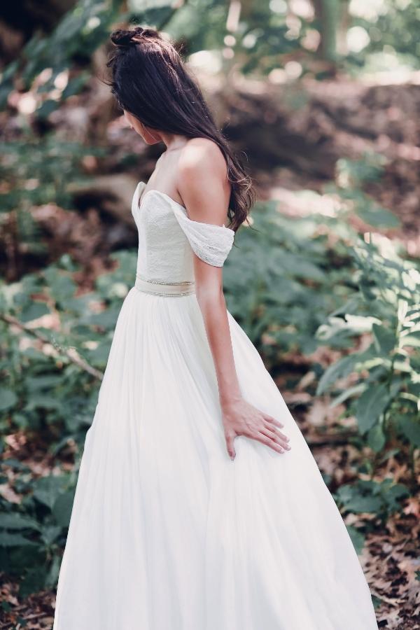 Coeur top with Perrot skirt and blush velvet belt