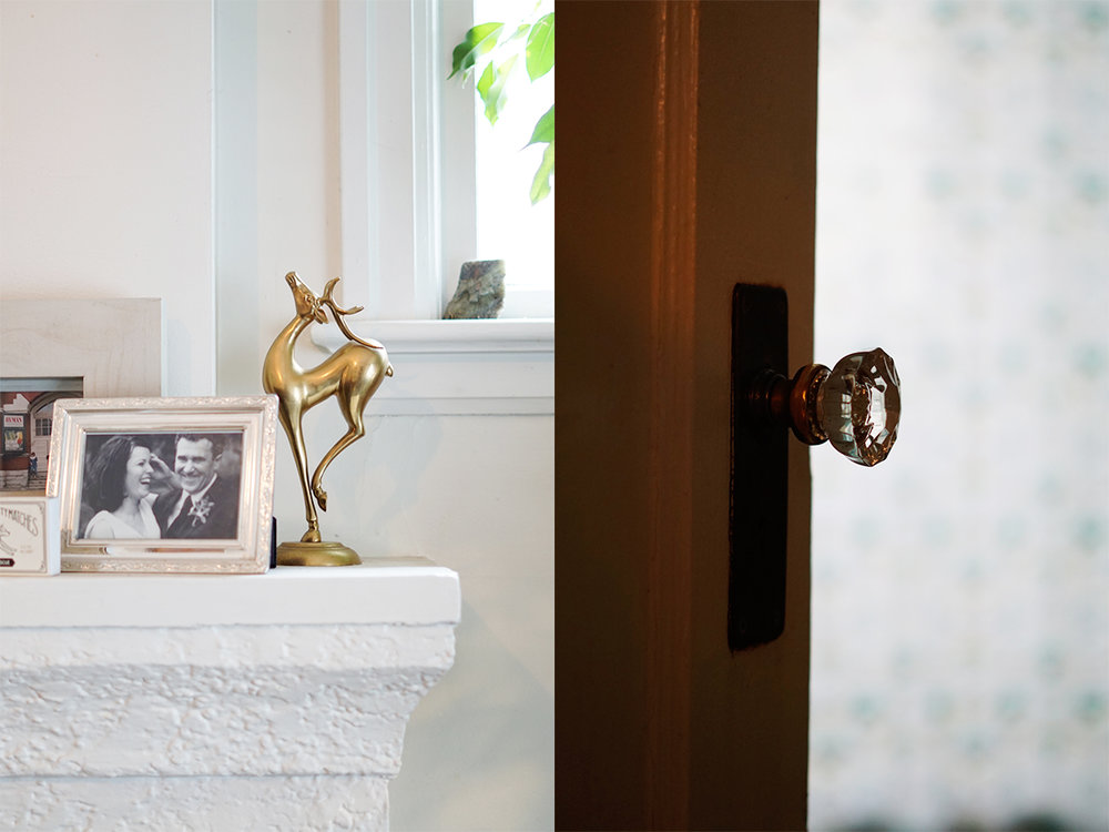 Gold Vintage Deer and Glass Door Knob