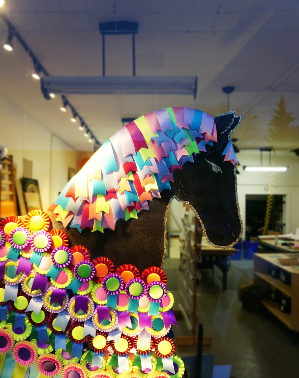 Ribbon Horse Window Display in Edmonton Framing Shop