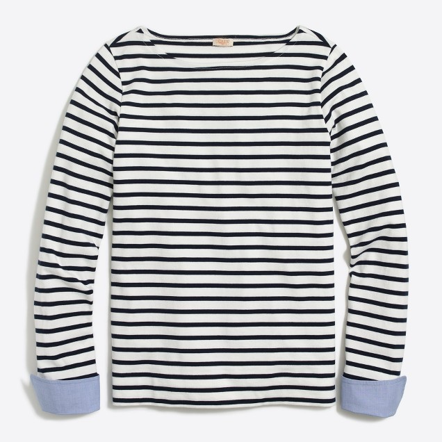 I love a stripe knit shirt and this one from J Crew had some structure with the cuffs, making it something I can wear to work without a jacket.