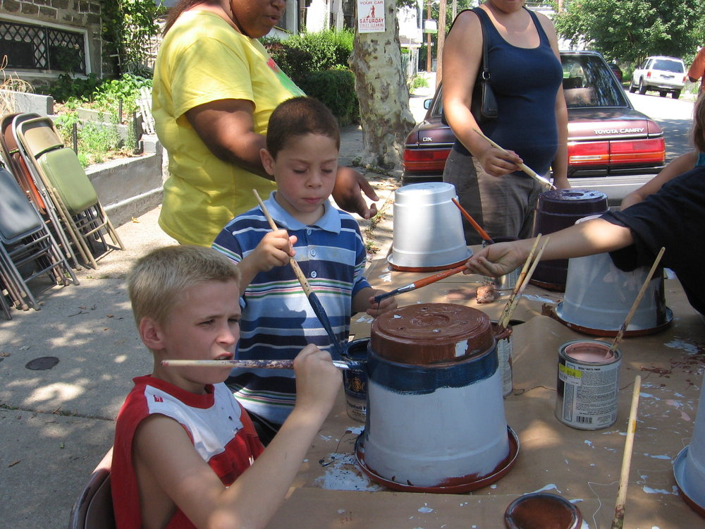 Painting Pots for the Garden