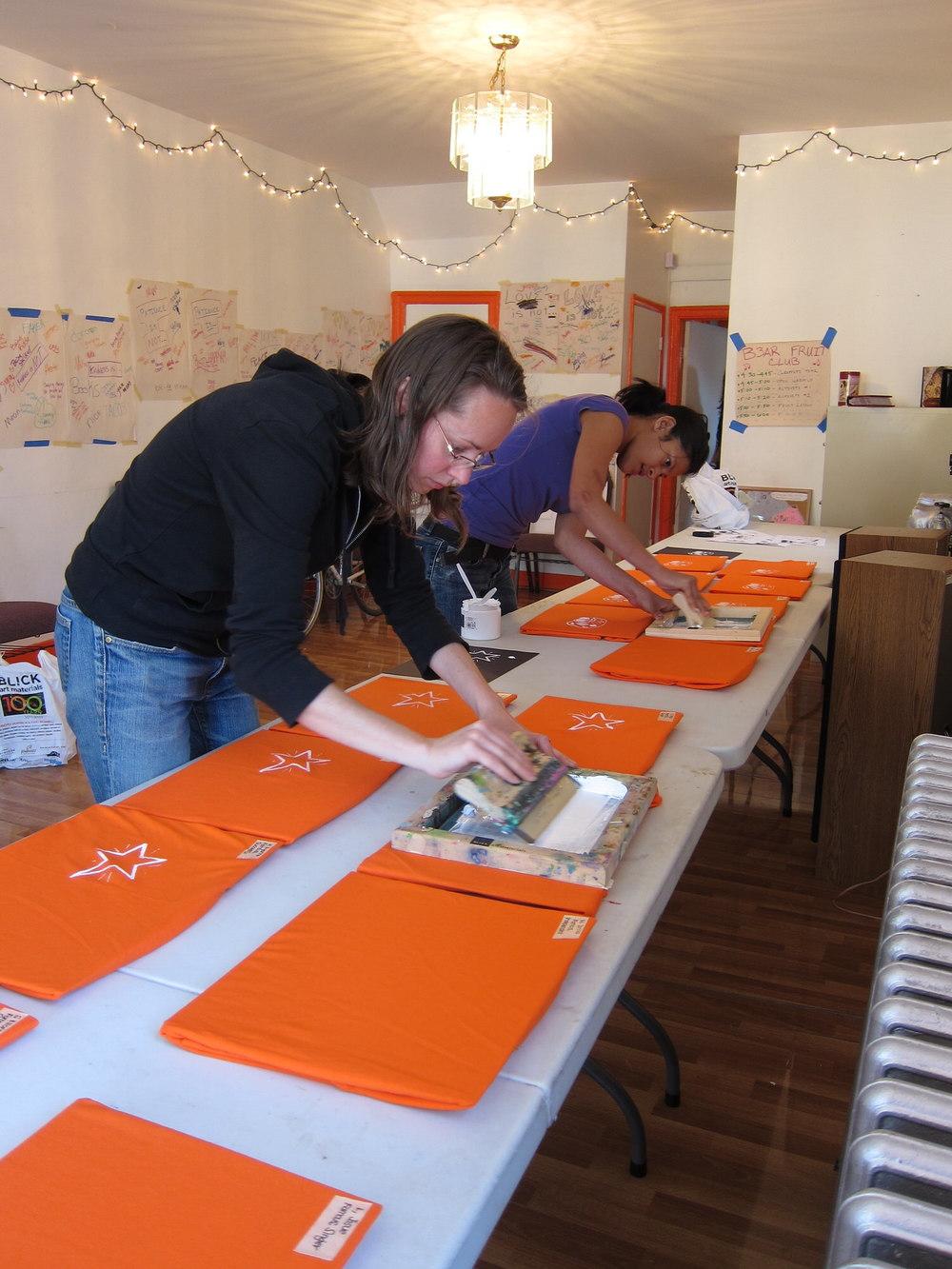 Wearable Design Class Silkscreen Students' Shirts
