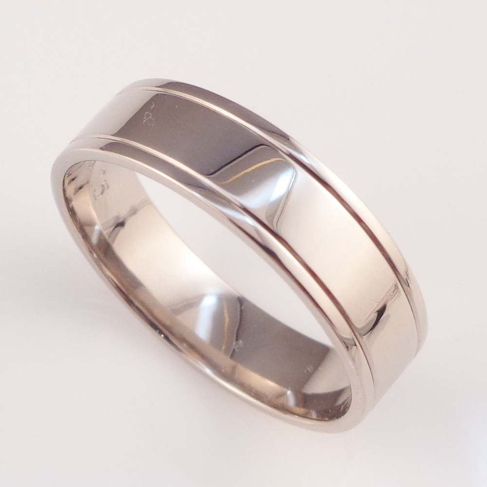 White gold wedding band.