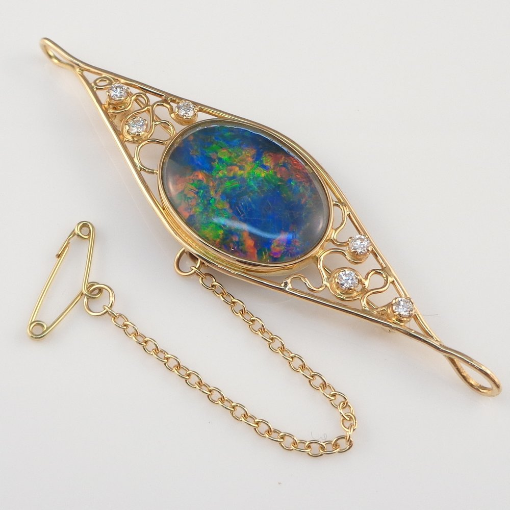 Opal & diamond brooch