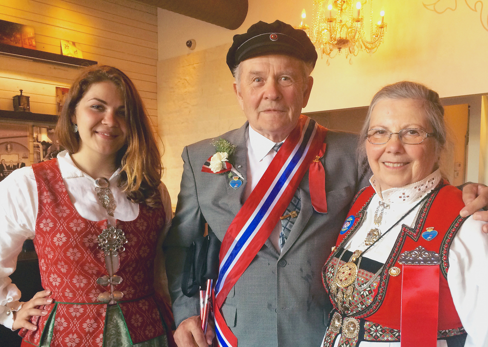 You never know who you'll run into during Ballard's Syttende Mai celebration (in this case, a few parade VIPS). From left to right: Maria Grankvist Buhang, Prof. Rolf Grankvist (Honorary Grand Marshal), and Roberta Morrow.