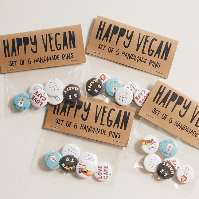 Handmade Vegan Pin Set -