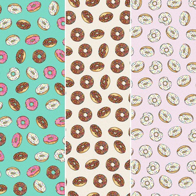 These deep fried delights are available in vanilla, chocolate and strawberry variations. All sprinkled of course #sweet #patterndesign #donuts