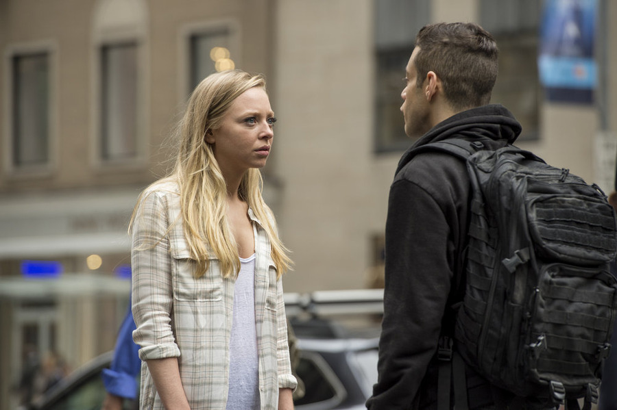 Portia Doubleday as Angela Moss, Rami Malek as Elliot Alderson (Photo by: David Giesbrecht/USA Network)