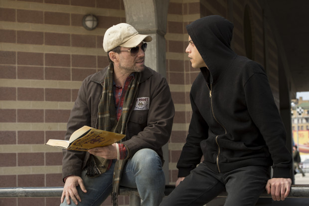 "Mr. Robot (Christian Slater) with Elliot Alderson (Rami Malek) in ""Mr. Robot"" on USA Network."