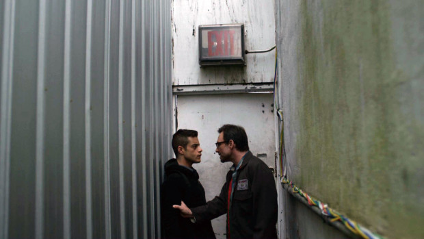 "Elliot Alderson (Rami Malek) with Mr. Robot (Christian Slater) in ""Mr. Robot"" on USA Network."