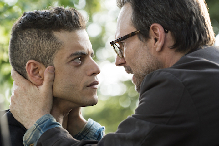 "MR. ROBOT — ""m1rr0r1ng.qt"" — Pictured: (l-r) Rami Malek as Elliot Alderson, Christian Slater as Mr. Robot — (Photo by: Virginia Sherwood/USA Network)"