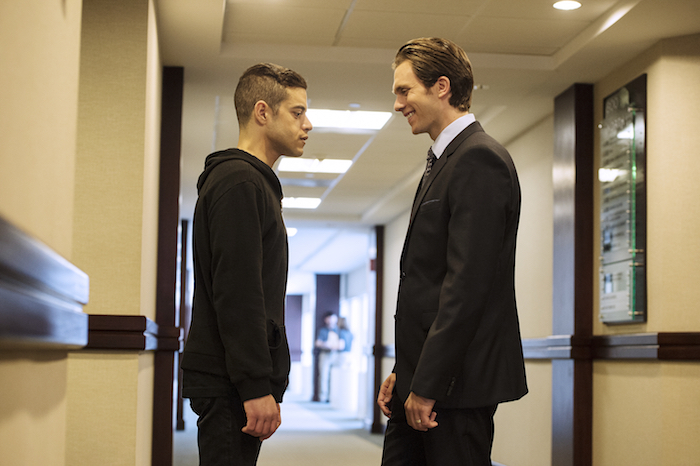 "MR. ROBOT — ""eps1.4_3xp10its.wmv"" — Pictured: (l-r) Rami Malek as Elliot Alderson, Martin Wallstrom as Tyrell Wellick — (Photo by: David Giesbrecht/USA Network)"