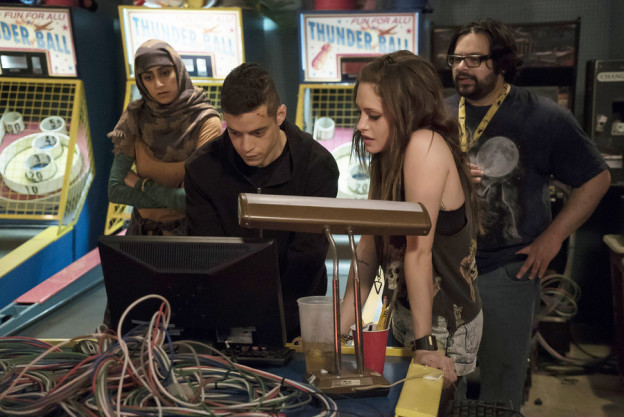 Elliot (Rami Malek), Darlene (Carly Chaikin), and other members of underground hacking collective fsociety.   Virginia Sherwood/USA Network