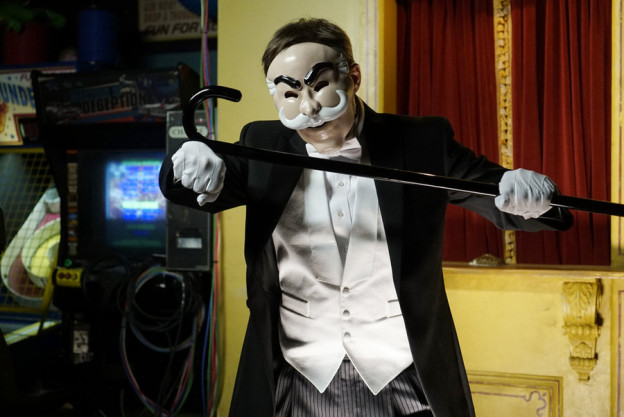 "The hackers in ""Mr Robot"" hide behind Monopoly Man masks in their Youtube videos.   Peter Kramer/USA Network"