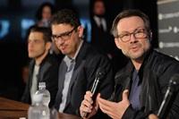 Rami Malek, Sam Esmail, and Christian Slater at Zurich Film Festival