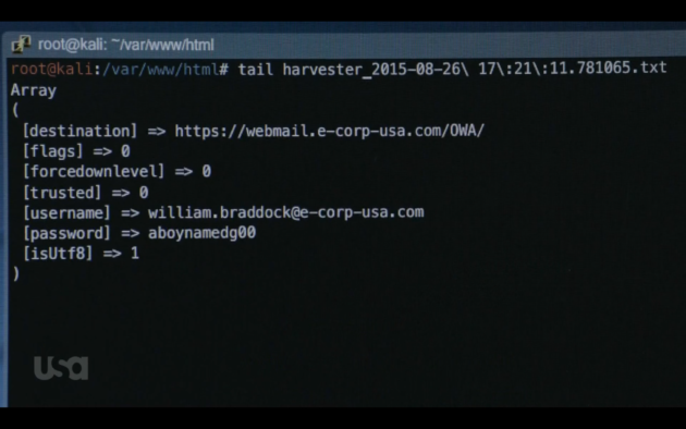 Figure 1: Elliot captures boss's password with Credential Harvester.  (USA Network)