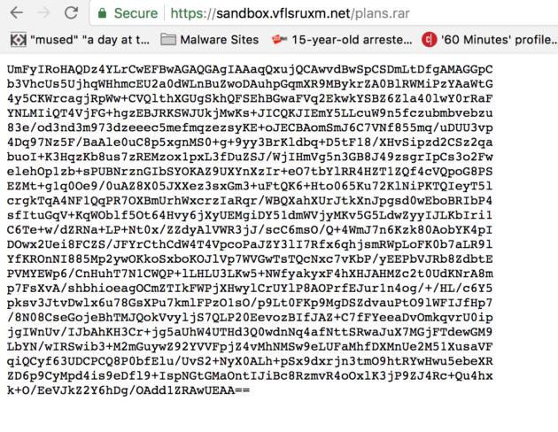 Figure 9: Base64 encoded file.  (USA Network)