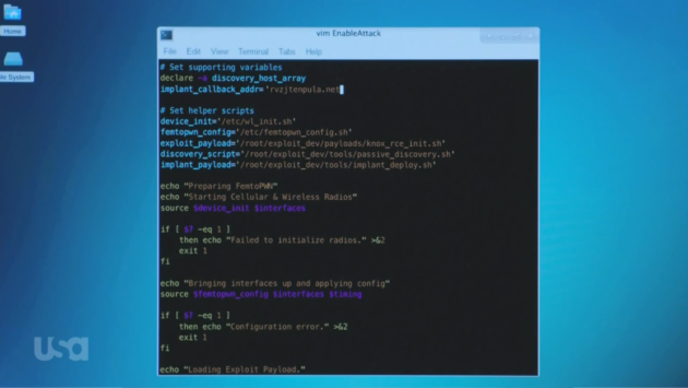 Figure 3: Tyrell writing the EnableShell script.  (USA Network)