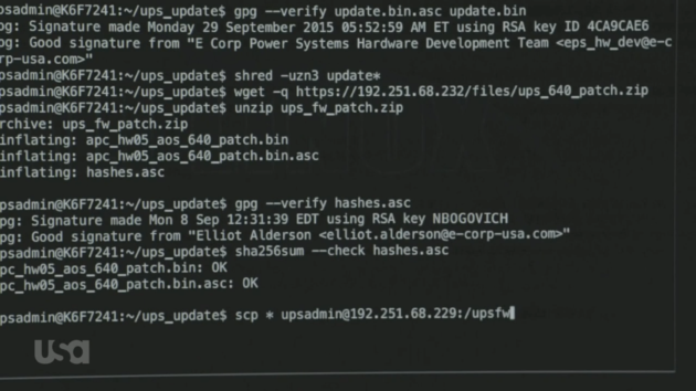 Figure 1: Elliot's first run at replacing Dark Army's malicious firmware.  (USA Network)