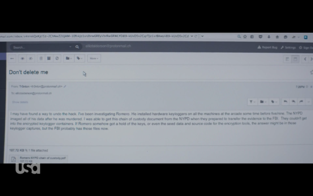 Figure 4: Trenton's email on undoing the 5/9 hack.  (USA Network)