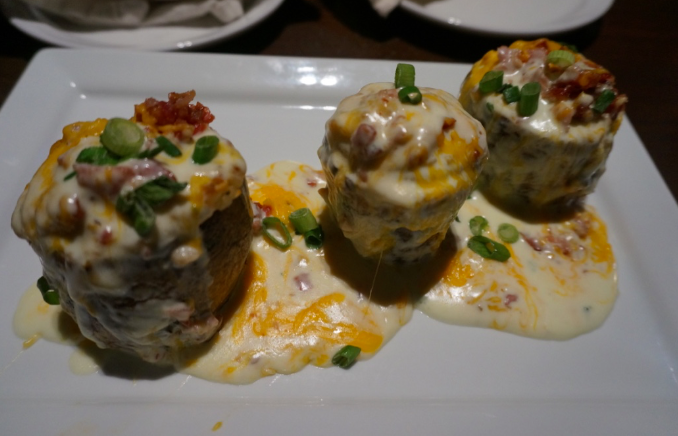 Alfredo Twice Baked Potato Skins