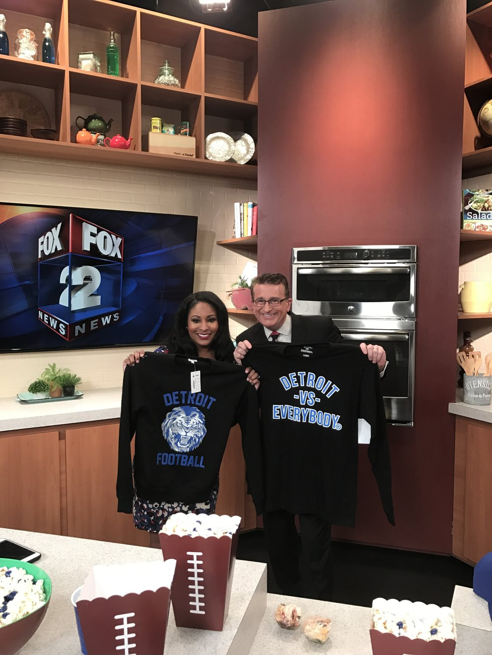 Fox 2 is certainly enjoying their gear from Detroit Vs Everybody and Simplified Clothing!!  They can't wait to sport it out to the next home game.