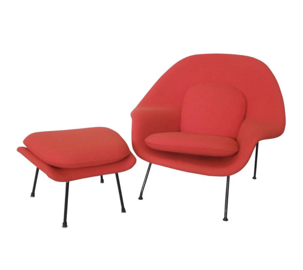 Early Production Eero Saarinen Womb Chair and Ottoman from TOM GIBBS STUDIO