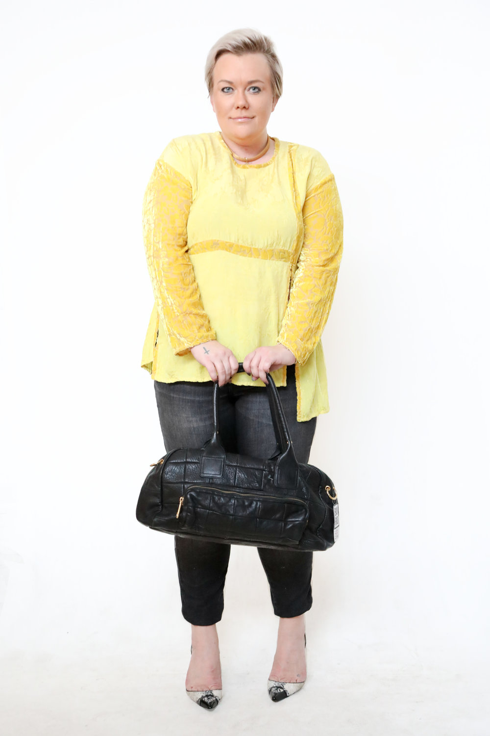 Velvet & silk yellow top from Boro Resale.