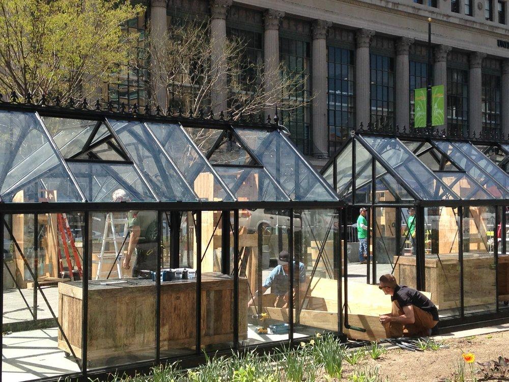 Glass huts used for the Downtown Detroit Markets program, photo found via Kurt Nagl for  Crain's Detroit