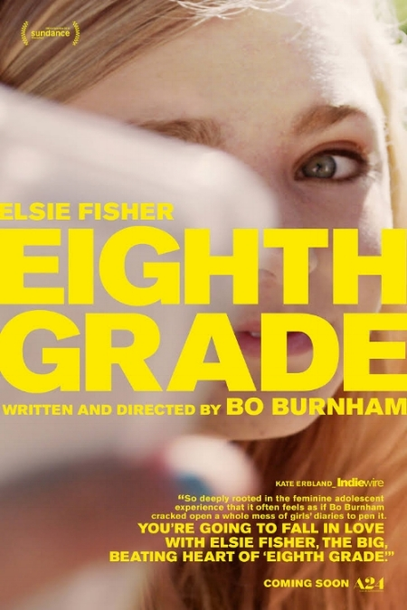 Film poster for  Eighth Grade , directed and written by Bo Burnham. Photo via A24