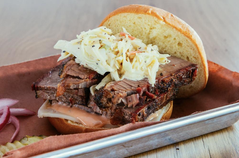 Brisket sandwich via Woodpile BBQ